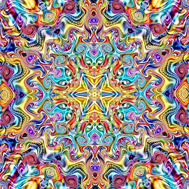 Gnarly Kaleidoscope by Peggi Wolfe - Illustration Abstract & Patterns ( abstract, unique, pattern, bright, color, illustration, unusual, fun, fractal, digital, print )