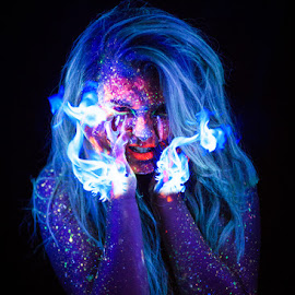 Witches Glow by Michael Payne - Digital Art People ( uv, uvpaint, art, blacklight, ultraviolet, black light, fire, portrait,  )