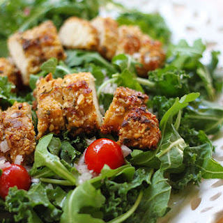 Kale + Arugula Salad with Almond Breaded Chicken + Champagne Honey Vinaigrette