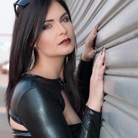 Leather & Steel by Audrey Boniwell - People Portraits of Women ( blue eyes, brunette, steel, leather )