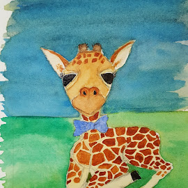 Baby Giraffe  by Paula Moore - Painting All Painting ( watercolor, bow tie, giraffe, baby, painting )