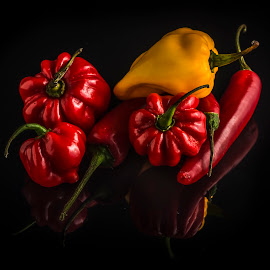 Hot! by Juha Kauppila - Food & Drink Fruits & Vegetables ( red, hot, yellow, chili, black )