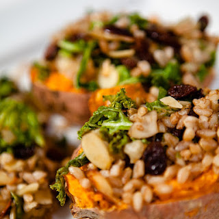 Baked Sweet Potato Stuffed with Farro Kale Topping