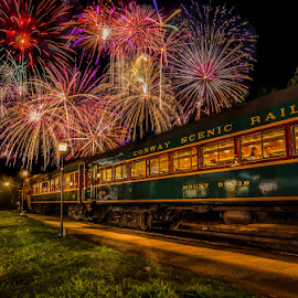 Fireworks Express by Chris Cavallo - Public Holidays July 4th ( fire truck, train station, long exposure, fireworks, 4th of july, train, night photography )