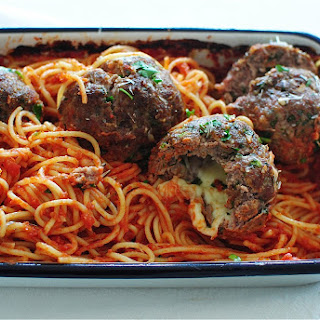 Giant Mozzarella-Stuffed Meatball and Pasta Bake