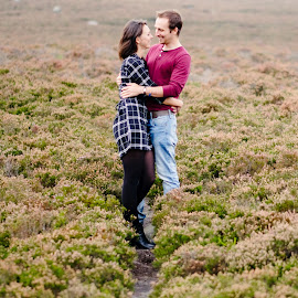 Love in the heather by Chris Loneragan - People Couples ( love, hug, prewedding, couple, cuddle, romance, engagement )