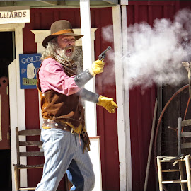 Pioneer Village Gun Fight by Nancy Young - People Street & Candids ( fight, old town, western, gun )