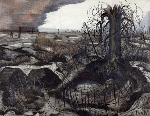 "Paul Nash, ""Wire"", mixed media on paper, 1918-1919.Courtesy IWM (Art.IWM ART 2705)"