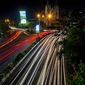 The Light by Rivan Indra - City,  Street & Park  Street Scenes ( night lighting street, indonesia, street, light, longexposure, city )