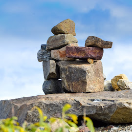 Went This Way by Rebecca Weatherford - Nature Up Close Rock & Stone ( clouds, inuksuk, sky, stone -stacking, message-stones, gravel, stones, rocks )