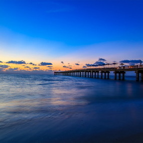 Sunrise at Sunny Isles by MIGUEL CORREA - Landscapes Sunsets & Sunrises ( water, florida, sunset, pier, sea, fishing, sunrise, sunny isles, sun )