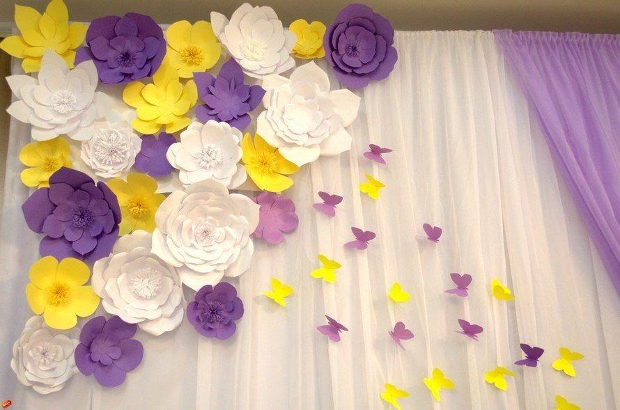 Цветы на стену из гофрированной бумаги