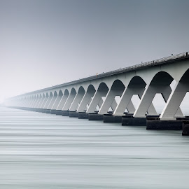 Never Ending Bridge  by Wim Denijs - Buildings & Architecture Architectural Detail ( water, fog, holland, brug, zeeland )