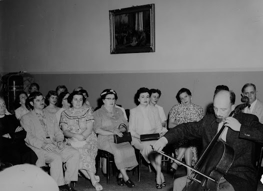Matz performs on the cello in Gary, Indiana, in 1955.  Rudolph and Margita Matz lived in the United States from 1955 to 1957, after he was invited to train choirs for a Croatian singing festival.  This photograph shows that he himself performed during this time.
