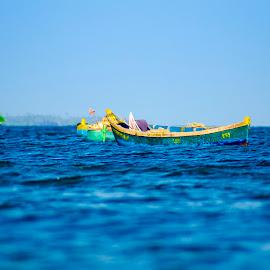Boat by Sainath Jayaraman - Landscapes Beaches ( tree, blue, sea, beach, boat, photography )