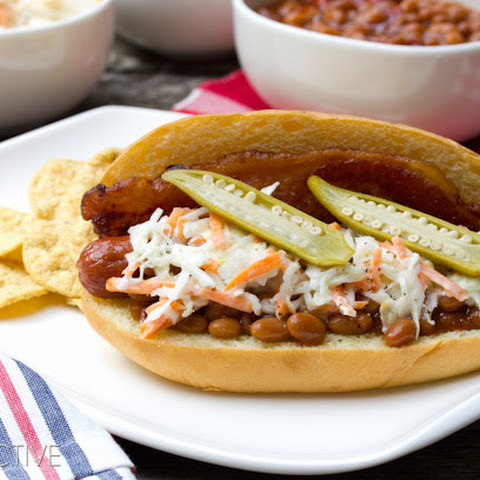 """Southern Comfort"" Bacon Hot Dog Recipe with Southern Slaw"