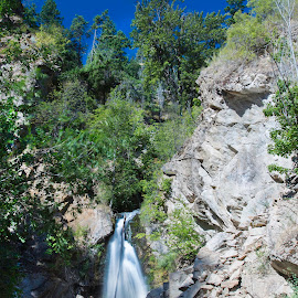 Hardy Falls by Bonnie Davidson - Landscapes Waterscapes ( cliffs, photograph, waterfalls, park, canada, waterscape, forest, landscape, regional park, peachland, trees, hardy falls, bc, british columbia,  )