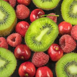 Kiwi & Red Fruit by Jim Downey - Food & Drink Fruits & Vegetables ( red, green, kiwi, rapberries, cherries )
