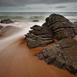 Flow by John P Carr - Landscapes Beaches ( water, sand, seashore, ireland, exteriors, flowing, waves, sea, ocean, blur, slow shutter speed, long exposure, brown, grey, rocks,  )