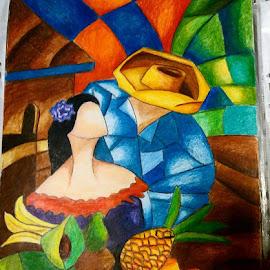 Love by Sanaz Shahraki - Painting All Painting ( sanaz shahraki, colorpencil, modern cubist, painting, hot love )