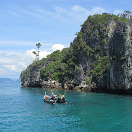 Island view by Kristin McMullan - Landscapes Travel ( blue, thailand, ocean, boat, island,  )