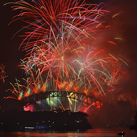 Beautiful Mess  by Kamila Romanowska - Abstract Fire & Fireworks ( new year, 2015, australia, fireworks, nye, celebration, new year 2015, sydney )