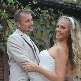Looking at his Beautiful Bride ! by Michelle Brush - Wedding Bride & Groom