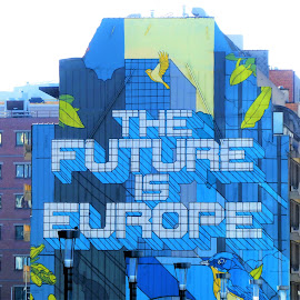 The future is Europe building in Brussels by Svetlana Saenkova - Buildings & Architecture Public & Historical ( street art, blue, belgium, brussels, europe,  )