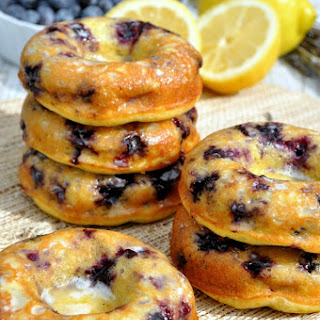 Skinny Lemon Blueberry Donuts with Lavender Glaze