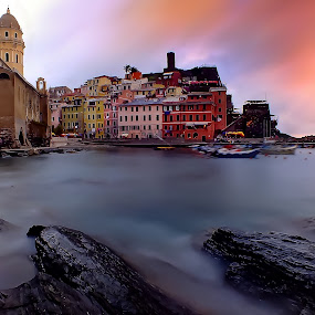 Vernazza by Arda Erlik - Landscapes Travel ( cinque terre, sunset, vernazza,  )