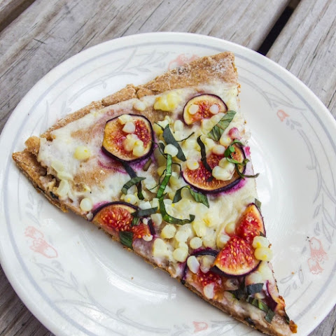 Amaranth Flatbread with Fig, Sweet Corn, and Shallot Cream Sauce