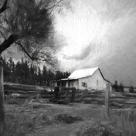 Homestead in Charcoal on Wood (Topaz) by Jim Buchanan - Digital Art Places ( barn, wide angle )