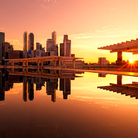 Sunset from Singapore ArtScience Museum by Justin Ng - City,  Street & Park  Vistas ( justin ng photo, cbd, reflection, sunset, artscience museum, museum, justin ng, singapore, central business district )