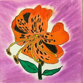 Bobbi by Daniel Bumstead - Painting All Painting ( orange, water color, painting, tiger lilly, flower,  )