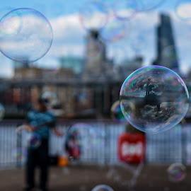Bubles by Gábor Kallós - Abstract Water Drops & Splashes ( bubble, city scene, blue sky, riverside, bubbles, reflecting )