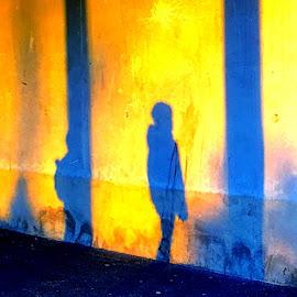 Human categories  by Mathias Hansen - Digital Art Abstract ( cool, different, silhouette, art, children, yellow, photo, people, human, picture, modern, blue, shadow, digital art, wall )