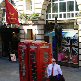 Red Phone Booths - London by Dee Haun - City,  Street & Park  Street Scenes ( england, red, london, 130814$0170rce1, street, street crossing, phone booth, street scene, city )