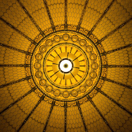Centered by John  Pemberton - Buildings & Architecture Architectural Detail ( indiana, memorial, ceiling, architecture, golden )