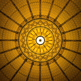 Centered by John  Pemberton - Buildings & Architecture Architectural Detail ( indiana, memorial, ceiling, architecture, golden,  )