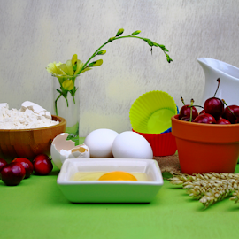 by Dipali S - Food & Drink Ingredients ( cake, shells, breakfast, yolk, eggs, flour, grains, milk, bread, cooking, muffin, baking, cherries )