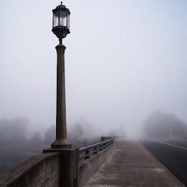 Street Fog by Richard Michael Lingo - City,  Street & Park  Street Scenes ( fog, bridge, street scene, roadway, city )