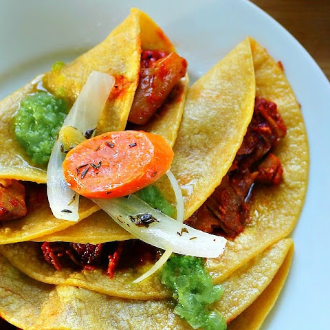 Pork Carnitas in Guajillo Sauce Tacos (Chicharron Prensado Casero)