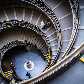 Double Helix stairs in Vatican by Catalin Caciuc - Buildings & Architecture Other Interior ( fuji x100 lightroom rome vatican helix stairs )