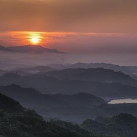 Sunset of Jiufen by Joyce Chang - Landscapes Mountains & Hills ( 云海, 台北, mountain, 台湾, 夕阳, fog, sunset, taiwan, 九份, jiufen )