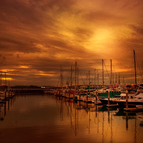 Sunset At Marina by Welly Agus - Transportation Boats