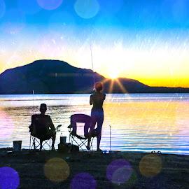 Fishing In Sunset Rain by Kathy Suttles - Digital Art People ( fishinginrain, oklahoma, sunset, fishing, digital )