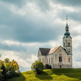 by Mario Horvat - Buildings & Architecture Places of Worship ( hill, church, slovenija, green, slovenia, trees, črni vrh, landscape )