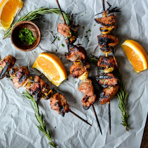 Apricot and Orange Pork Skewers with Garlic and Rosemary