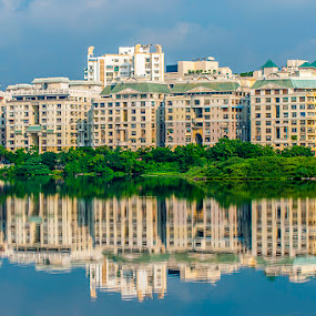 Reflection by Muthu Kumar - Buildings & Architecture Homes ( water, home, building, reflection, sky, apratments, india, broken bridge, chennai, tamilnadu )