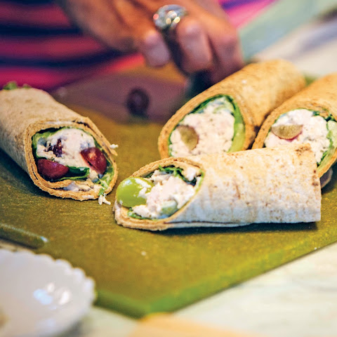 Grape Chicken Salad Flatbread Wrap